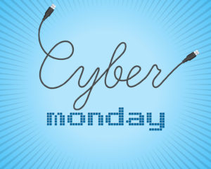 Digital promo text on a blue background for Cyber Monday. Sale, discount theme. Vector illustration.